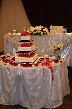 www.lepapillonevents.com, #Flowers #Decor #Planning #Toronto #Vaughan #red #black #silver #wedding, #reception #head and #cake #table #decor, #silver #sequin #linens Hazelton Manor