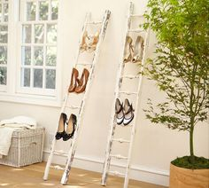 Clever idea using ladders for shoe racks