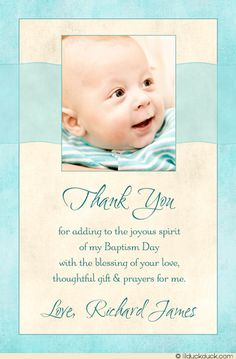 Christening & Baptism Photo Thank You Card | Baby girls, Photos ...