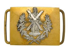 Cameron Highlanders Victorian Officer's waist belt plate. A scarce example Scotland Kilt, Gentlemen Wear, Military Belt, Highlanders, Cold Steel, British Army, Military History, Plaque, Tartan