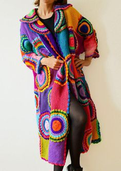 Extra Long Plus Size Cardigan Sweater with Crochet Circles from subrosa123 on Etsy.