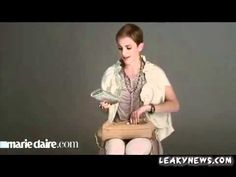 Emma Watson showing whats in her bag for Marie Claire