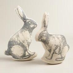 Screen-Printed Rabbit Decor, Set of 2 | World Market