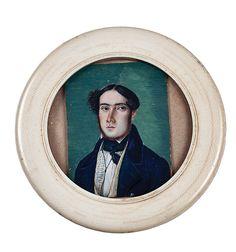 Miniatura pintada al gouache sobre marfil. Con marco circular también de marfil.  Diámetro marco: 9 cm  Colección  Díaz Carvajal