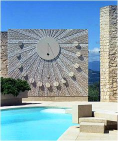 Beautiful Sundial @ Chateau du Crestet in Vaucluse, France by late Architect Roger Anger