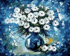 Modern Frameless Picture On Wall Acrylic Paint DIY Painting By Numbers Flowers Coloring By Numbers Gift Blues Daisy 40*50cm ** More details can be found by clicking on the image. #HomeDecor