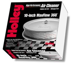 Holley MaxFlow Air Filter packaging - by Donaldson Design