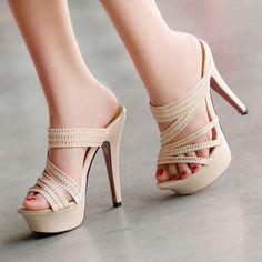 2016 Peeptoe Platform High Heels Slippers Sandals Strappy Rhinestone Womens Shoe