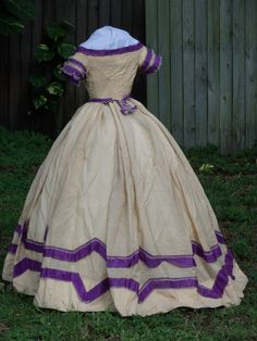 Back of colorful barege ballgown c.1863