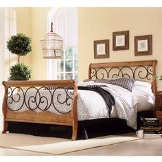 Make your home beautiful with Leggett and Platt Dunhill Honey Oak Complete Bed with Wood Sleigh Style Frame and Autumn Brown Metal Swirling Scrolls. Iron Headboard, Queen Headboard, Headboard And Footboard, Bed Headboards, Headboard Ideas, Wooden Headboards, Wood Sleigh Bed, Sleigh Beds, Wood Beds