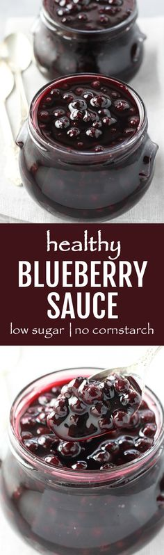 This healthy blueberry sauce is low in added sugar and made without cornstarch. Tastes great with oatmeal or pancakes in the morning, or with unsweetened plain yogurt or cottage cheese for a snack.