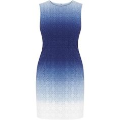 Diane von Furstenberg Kedina Blue Ombre Broderie Anglaise Mini Dress featuring polyvore, women's fashion, clothing, dresses, blue, ombre dresses, short ombre dress, diane von furstenberg dress, cotton dress and short fitted dresses