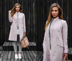 Eliska H. - Zara Pink Coat, Adidas Superstars - Cotton Candy