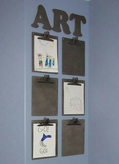 Cute idea to switch out kids' art projects to declutter the fridge