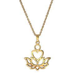 Sacred Lotus, Life Symbol, Gold Pendant Necklace, Trendy Jewelry, Stainless Steel Chain, Ayurveda, Chakra, Spirituality, Chakras