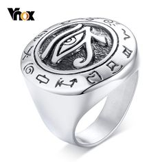 Vintage Mens Ring with Egyptian Eye of Horus Punk Stainless Steel Rings for Male Talisman Gifts Jewelry Diamond Choker Necklace, Coin Pendant Necklace, Gold Choker, Diamond Jewelry, Gold Jewelry, Women Jewelry, Bridal Jewelry, Gold Bangles, Cute Jewelry