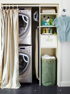 A space-saving stacked washer and dryer in this closet-turned-laundry area leaves plenty of room to install shelves for storage. If your laundry closet… Laundry Closet, Small Laundry Rooms, Laundry Room Organization, Laundry Room Design, Laundry Area, Hidden Laundry, Concealed Laundry, Compact Laundry, Laundry Basket