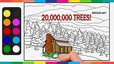 Drawing 20,000,000 TREES! & a House In Mountain Forest Drawing & Colorin...