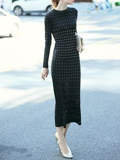 Black Elegant Beaded Maxi Dress