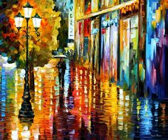 """Lost In The Rain"" by Leonid Afremov ___________________________ Click on the image to buy this painting ___________________________ #art #painting #afremov #wallart #walldecor #fineart #beautiful #homedecor #design"