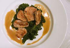 Pork tenderloin, kale, caramelized onion puree