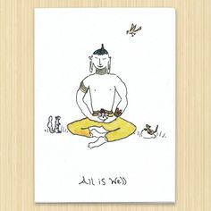 All Is Well greeting card, Peace card, Buddha card by Rosieswonders on Etsy