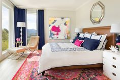 Pink and Navy Master Bedroom + Ensuite; Before & After