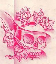 skull and crossbones feminine tattoo -