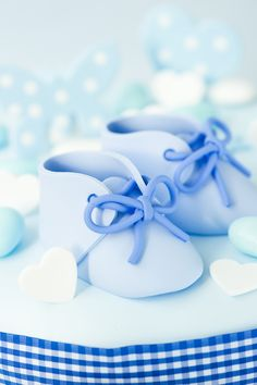Blue baby booties cake topper. Handmade using polymer clay by me Jasmine Burgess