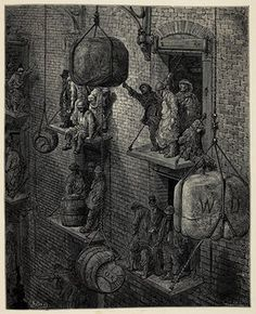 Warehousing in the City ... 'The warehouse-men pause aloft on their landing-stages, book in hand, to contemplate us ... The man bending beneath an immense sack turns up his eyes from under his burden, and appears pleased that he has disturbed us.'