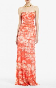 BCBG KAI STRAPLESS EVENING GOWN FLORAL RED  Price: $180.00