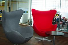 The Egg Chair by Arne Jacobsen in Copenhagen Airport. This is probably one of the most famous pieces of Danish Design. Produced by Fritz Hansen.