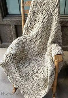 Crochet Basketweave Throw Blanket Pattern - afghan