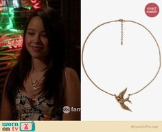 Mariana's black floral dress and bird necklace on The Fosters.  Outfit Details: https://wornontv.net/16842/ #TheFosters