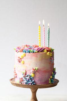 Sprinkle Birthday Cake with vanilla pastel buttercream swirls