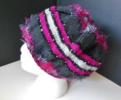 Fuchsia Gray Silver Sparkle Glitter Fun Fur Beret Slouchy Hat Child Teen Adult OOAK by JustAMomFromNH on Etsy