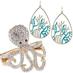 Look at this: adorable set of ocean motif items, including a sweet octopus cuff. Precious-pretty.