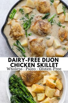 Dairy Free Dijon Chicken - a light and delicious dairy-free meal that everyone will love! Whole30 and Paleo! #whole30recipes #mustardchickenskillet #dairyfreemustardsauce #whole30mustardchicken #paleorecipes #healthymeals #healthydinnerideas #dairyfreerecipes