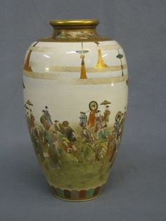"""A fine quality Japanese Satsuma porcelain vase decorated court figures 10"""", with seal mark to the base £500-800"""