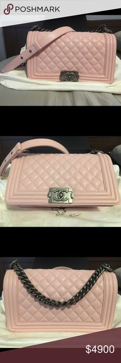 "BABY PINK MEDIUM CHANEL LE BOY BAG Gorgeous BRAND NEW, 100% AUTHENTIC, Medium Chanel Le Boy Bag in Baby Pink. Measurements:11""L x 3.5""H x 7""W. . Comes with the box, the booklet, dust bag, authenticity card, flower, & ribbon. Retail: $5200 plus tax. Asking: $4900  Price is negotiable! CHANEL Bags Crossbody Bags"