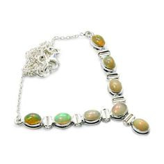 Rare Sterling Silver Fire Ethiopian Opal Y-shaped Necklace  Price : $159.95 http://www.silverplazajewelry.com/Sterling-Silver-Ethiopian-Y-shaped-Necklace/dp/B00JQBZPPE