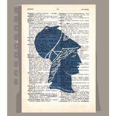 Antique Greek SILHOUETTEin Blue ORIGINAL ARTWORK  by RococcoCo, $9.95
