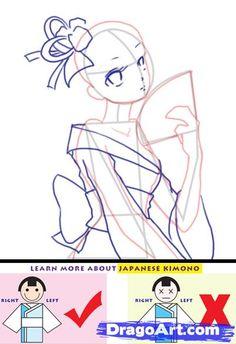how to draw a kimono step 3