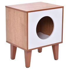 Amazon.com : Tangkula Cat Box Cushion Bed Cleaning Enclosure Hidden Pet Cabinet Furniture Wood : Pet Supplies