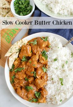 If you crave the flavors of Indian food you need to add this Slow Cooker Butter Chicken to your menu. Just BARE Chicken Breasts are slow cooked in a warm, flavorful sauce and server overbasmati rice withcilantro and a side of naan bread.// acedarspoon.com #ad #chicken #poultry #slowcooker #crockpot #Indian #easyIndian #easydinner