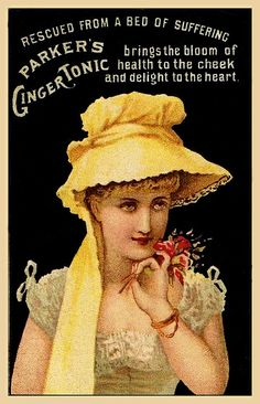 """""""Rescued From a Bed of Suffering,"""" 1882 Parker's Ginger Tonic Trade Card"""