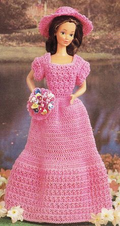 This listing is for a Vintage Crochet 1980's Bridesmaid Barbie Doll Dress Pattern