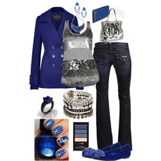 """Cobalt and Silver"" by crzrdnk77 on Polyvore"