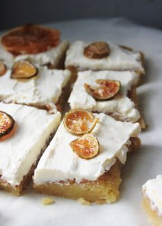 Lemon Squares with Cream cheese Frosting and Candied Lemon  /  Notions & Notations of a Novice Cook.