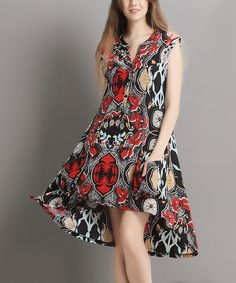 $19.99 Loving this Black Abstract Sleeveless Button-Front Dress on #zulily! #zulilyfinds